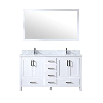 60 Double Vanity Wh Wh Carrera Marble Top Wh Square Sinks And 58