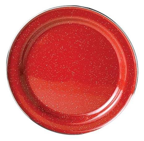 GSI Outdoors Red Stainless Steel Rim Enamelware Plate