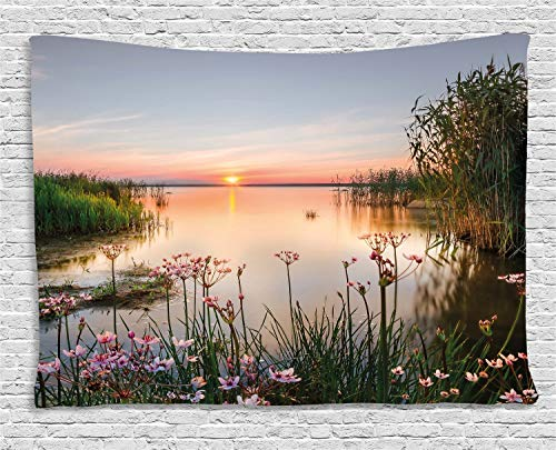 Ambesonne Nature Tapestry, Sunset at Chudskoy Lake Estonia View Spring Flowers Landscape Photo, Wall Hanging for Bedroom Living Room Dorm, 60 W X 40 L Inches, Green Pink