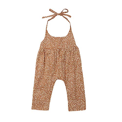 MSDMSASD Newborn Baby Girl Strap Romper Floral Dot Halter Backless Long Pants Romper(Orange,0-3T) ()