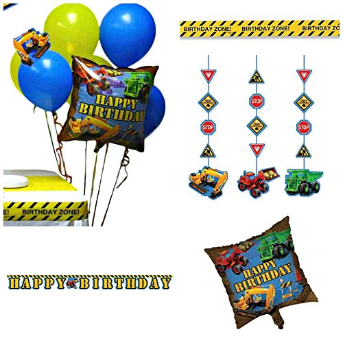 Under Construction Party Themed Decorations Kit – Banner, Hanging Decorations, Zone Warning Tape and Balloons – Birthday Boy Bundle (Construction Theme Party Ideas)