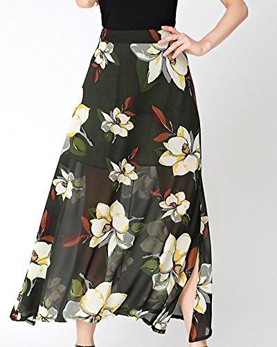 Faldas Flor Maxi Boho Para Mujer Playa Bikini Cover Up Fiesta Falda Larga Con Raja Verde