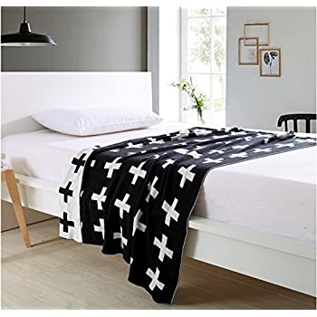 DOKOT Black and White Swiss Cross Pattern 100% Cotton Knitted Throw Blanket (43x51 inches, Swiss Cross)