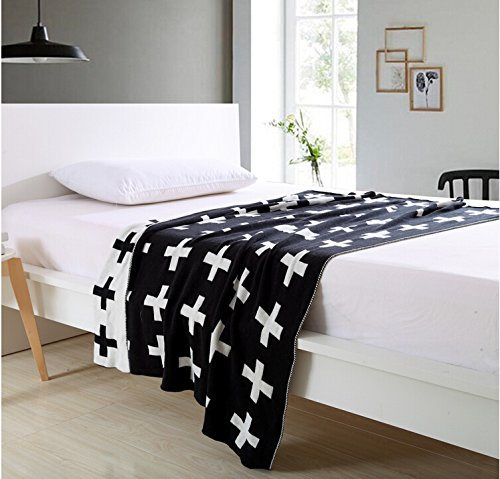 DOKOT Black and White Swiss Cross Pattern 100% Cotton Knitted Throw Blanket (35x43 inches, Swiss Cross) (Blanket Swiss)