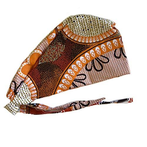Women's Brown Orange Flowers Front Fold Tie Back Scrub Cap Surgical Cap