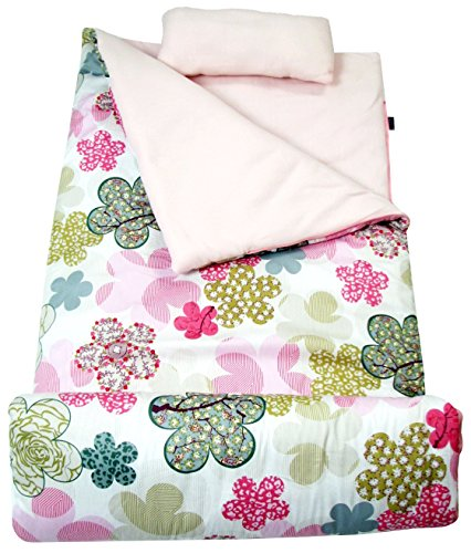 (SoHo kids Minky Blossoms children sleeping slumber bag with pillow and carrying case lightweight foldable for sleep over)