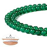 BEADNOVA 6mm Natural Green Agate Gemstone Round Loose Beads For Jewelry Making (63-65pcs)
