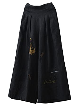 ec205dcf3cd86 Minibee Women s Embroidery Wide Leg Cropped Palazzo Pants Linen Ethnic  Capri Trousers Style 1 Black at Amazon Women s Clothing store