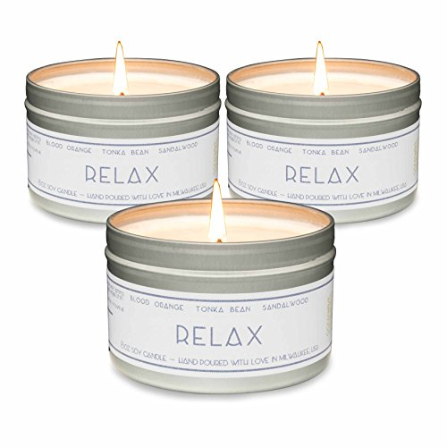 Gold Wave Goods Scented Candles  Relax (Blood Orange/Sandalwood)  Natural Soy Wax Aromatherapy 8 oz Candles, 3-Pack, Made in USA