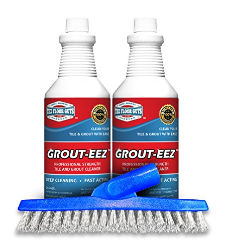 IT JUST Works! Grout-EEZ Super Heavy Duty Tile & Grout Cleaner and brightener. Quickly Destroys Dirt & Grime. Safe for All Grout. Easy to Use. 2 Pack with Free Stand-Up Brush. The Floor Guys (Best Steam Cleaner For Porcelain Tile Floors)