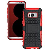 Galaxy S8 Plus Case,Berry Accessory Heavy Duty Rugged [Drop Protection][Shock Proof][Dual Lawyer] Hybrid Defender Armor with Built-in Kickstand Case Cover For Samsung Galaxy S8 Plus 2017 (Red) For Sale