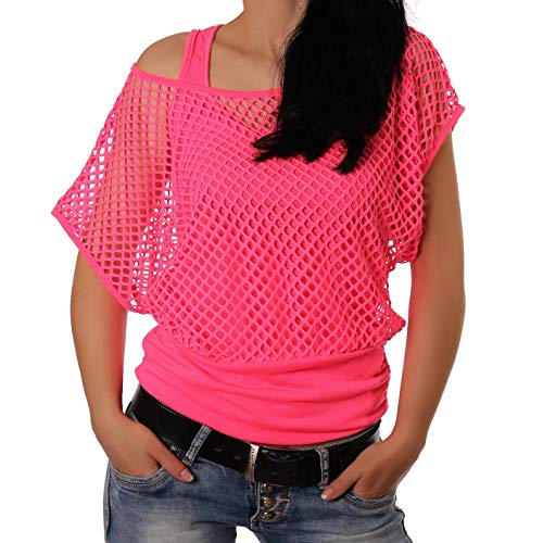 Smile fish Women Casual Oversized Sexy 80s Costumes Fishnet Neon Off Shoulder T-Shirt (XS, Hot Pink) K025]()