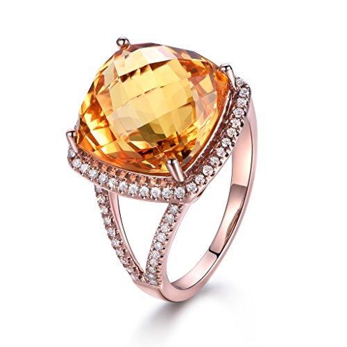 MYRAYGEM-engagement ring 13x13mm Natural Big Cushion Yellow Citrine Gemstone Diamond Halo Ring Vintage Art Deco Ring 14k Rose Gold