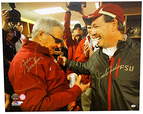 Bobby Bowden and Jimbo Fisher Autographed Signed Florida State Seminoles 24x30 Horizontal Canvas Print - Locker Room Handshake - PSA/DNA Authentic