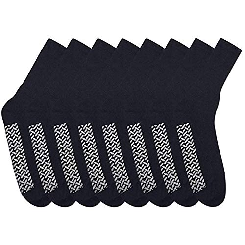 Noble Health Care Diabetic Non Skid Hospital Slipper Socks 6 Pack (13-15, Black)