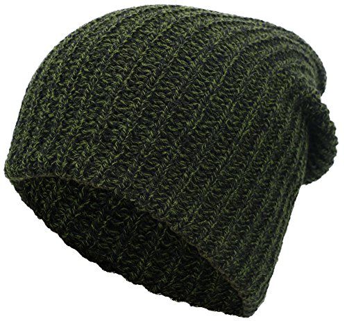 Simplicity Men / Women's Stretchy Oversized Knit Slouchy Beanie Ski Cap,Green