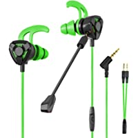 CLAW G9 Gaming Earphones with Dual Microphones, 3D Stereo Sound, Dual Flange Ear-Tips for Mobile Phones, Tablets, PC, Laptop, PS4, Xbox, Nintento Switch (Green)