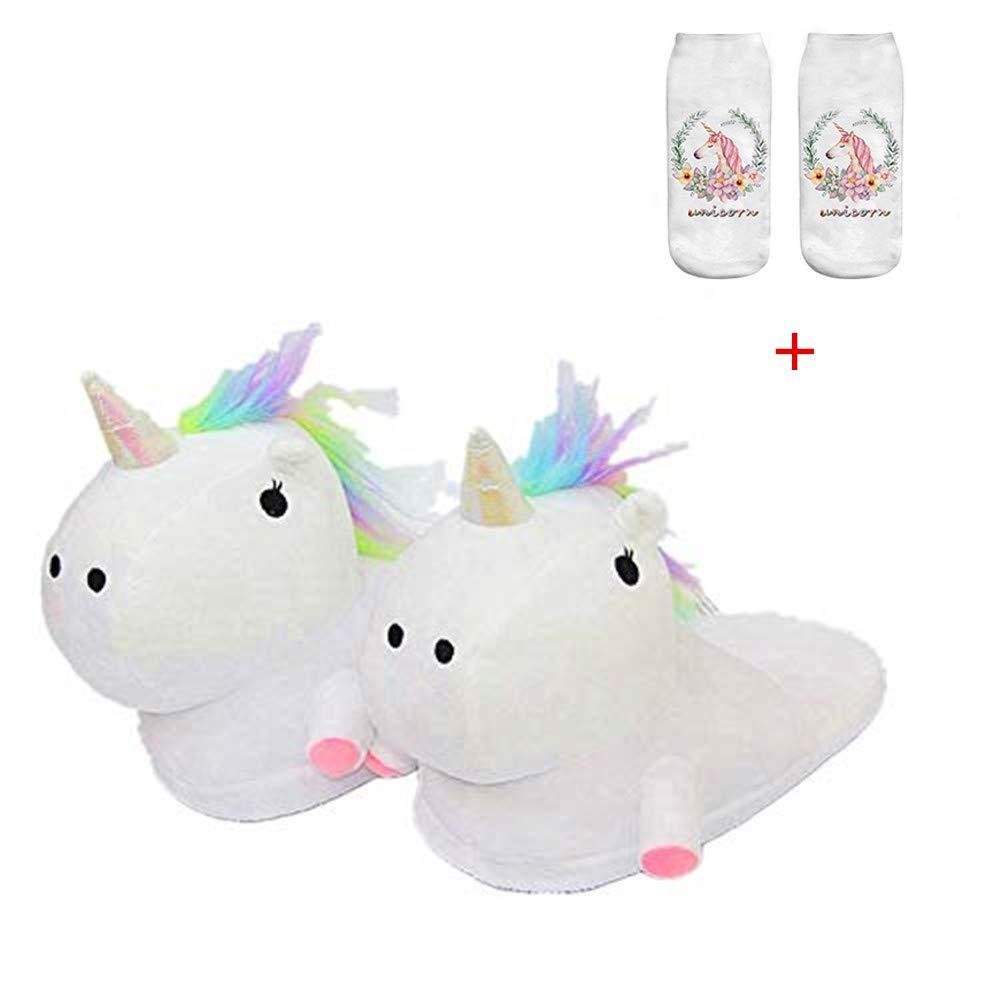 b3ff287339f86 Unicorn Slippers Warmer Soft Plush Slippers Anti Slip-On Suitable Ladies  Adult Cartoon Animal Slipper Ideal Festival Christmas Novelty Gift