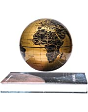 "woodlev Magnetic Maglev Levitation Levitron Floating Rotating 6"" Globe Gold & Blue Book Style Platform Learning Education Home Decor (Gold)"