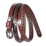 Search : GSG Valentines Gifts Costumes Skinny Belts Womens Trendy Studded Belts Ladies Jean Belt Strap Genuine Leather Punk Rock Rivet Vintage Apparel 0.55''