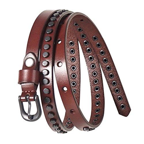 GSG Birthday Gifts Costumes Skinny Belts Womens Trendy Studded Belts Ladies Jean Belt Strap Genuine Leather Punk Rock Rivet Vintage Apparel 0.55'' Cognac S