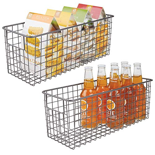 mDesign Farmhouse Decor Metal Wire Food Storage Organizer Bin Basket with Handles for Kitchen Cabinets, Pantry, Bathroom, Laundry Room, Closets, Garage - 2 Pack - Graphite Gray