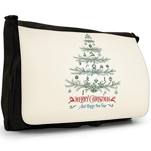 Canvas Laptop Vintage Messenger Christmas Tree Elegant Greetings Bag Merry Black Large Shoulder Pine School xYFvqCwCd