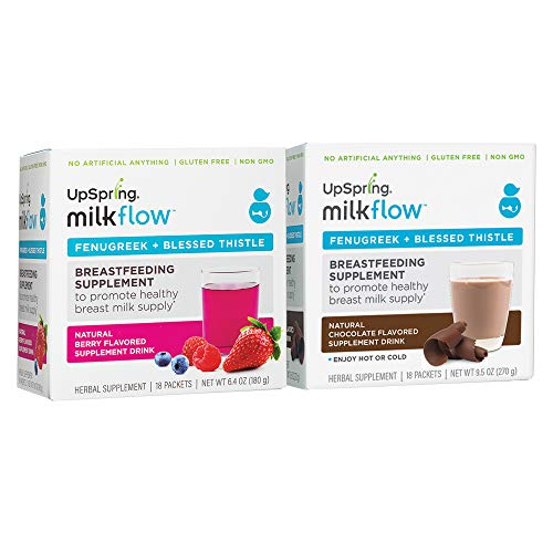 UpSpring Milkflow Fenugreek and Blessed Thistle Drink Mix, Combo Berry and Chocolate, One Box Each, 36 Count Packets