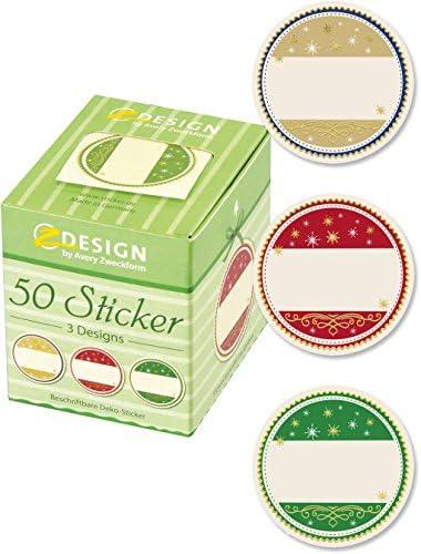 AVERY Zweckform Weihnachtssticker 50 Stück Art. 56829 (Aufkleber, ablösbare Papiersticker mit Goldprägung 58x38 mm im Spender, beschriftbar, Selbstgemachtes, Einmachetiketten) Sticker auf Rolle