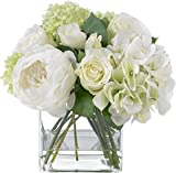 BLOOMS by Diane James Faux Summer Rose and Hydrangea Bouquet in Glass Cube Vase