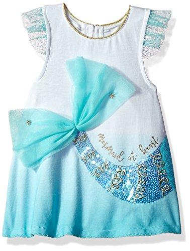 Mud Pie Baby Girls Mermaid Tail Ruffle Sleeve Tunic, Blue, MD/ 2T-3T ()
