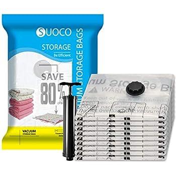 SUOCO Vacuum Storage Bags with Hand Pump - Jumbo, 8 Pack