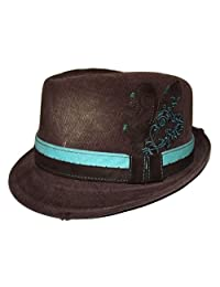 Daniel Cremieux Men's Cotton Twill Fedora Hat Brown with Aqua Band Large/XL
