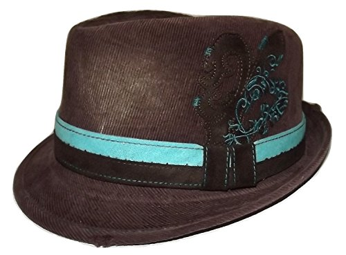 ee2b8314d0490 Daniel Cremieux Men s Cotton Twill Fedora Hat Brown with Aqua Band Large XL
