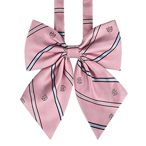 (Bowtie Women's Japan Lolita JK Uniform Embroidery Adjustable Necktie School Student Sailor Suit Bowknot Pre-tied Bow Tie PTK04 (Pink))