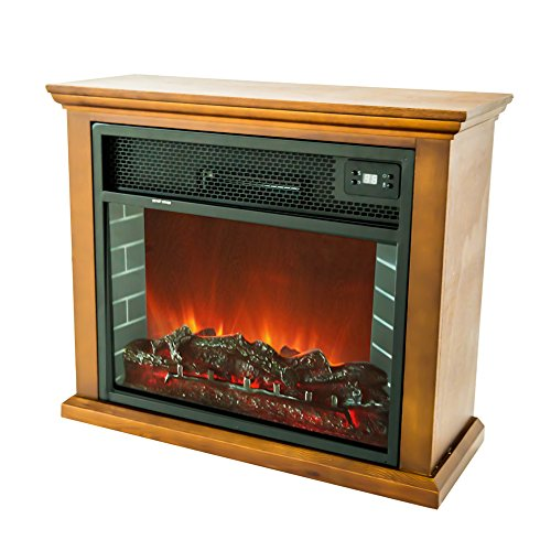 FLAME&SHADE Electric Fireplace with Mantel TV Stand, Small Portable Fireplace Wood Stove Space Heater with Remote, Free Standing on Wheels, Honey Oak Premium Oak Electric Fireplace