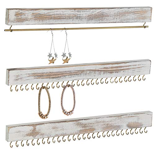 Wall Jewelry Holder - MyGift Rustic Whitewashed Wood 3-Piece Wall-Mounted Jewelry Rack Set