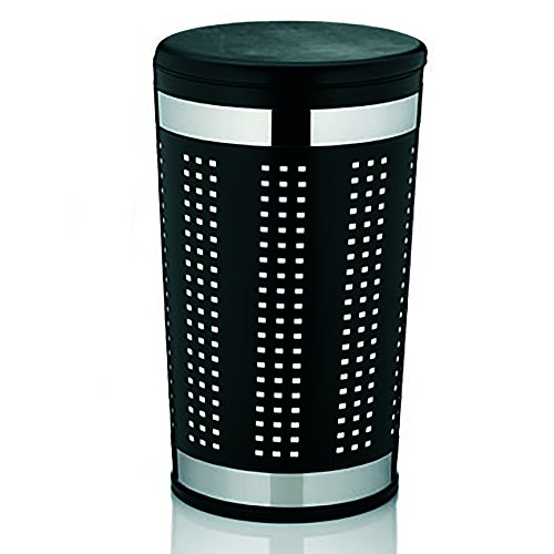 KELA 21818, Wäschetruhe mit Sitzkissen, Rund, 60,5 cm Höhe, Metall, Sevilla, Schwarz