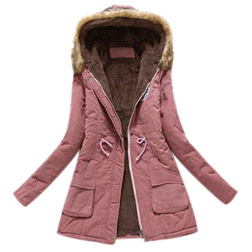 Capucha de Parka Cuello Mujeres Oscuro Piel Largos Caliente Las Abrigos con Minetom de Rosa Chaqueta Outwear Invierno Coats 7nBEwq7v