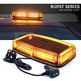 #7: Xprite Burst Series 12V COB LED Amber/Yellow Roof Top Emergency Hazard Warning LED Mini Strobe Beacon Lights Bar w/ Magnetic Base, for Snow Plow, Police, Firefighters, Trucks, Vehicles