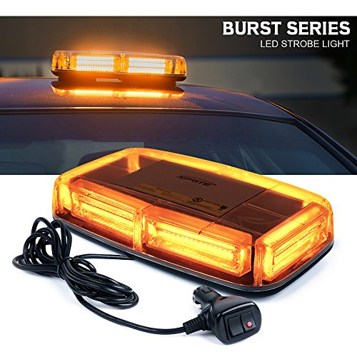 Xprite Burst Series 12V COB LED Amber/Yellow Roof Top Emergency Hazard Warning LED Mini Strobe Beacon Lights Bar w/Magnetic Base, for Snow Plow, Police, Firefighters, Trucks, Vehicles
