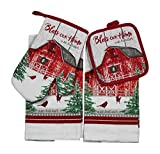 Whiskey Mountain Farmhouse Kitchen Towel Set: Country Red Barn in Winter with Cardinals Including Pot Holder and Oven Mitts