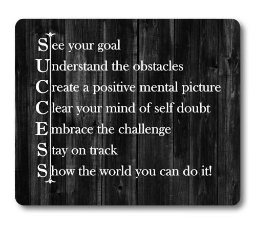 Knseva Inspirational Quote Rustic Black Wood Mouse Pad, See Your Goal Clear Your Mind of Self Doubt Embrace The Challenge Stay on Track Show The World You Can Do It Motivational Quotes Mouse Pads