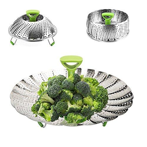 Steamer Assembly Basket (Vegetable Steamer Basket Baby Food Veggie Fish Pot Pan Foldable 18/8 Stainless Steel Insert Steamers For Healthy Diet BPA Free)