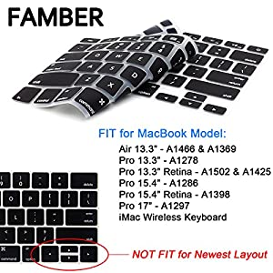 "Famber XMS200 Keyboard Cover Silicone Skin for MacBook Pro 13"" 15"" 17"" (with or without Retina Display) iMac Macbook Air 13 Inch - Black"