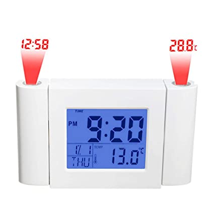 JNS Factory Direct Digital Clock with 2 Projector with Time,Temperature, Date, Week, Month Display. Snooze Function.