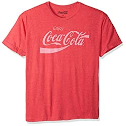 Coca-Cola Mens Enjoy Coca-Cola Classic Logo Vintage Look T-shirt, Red Heather, Small