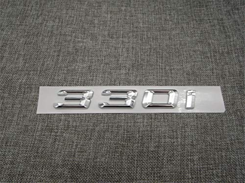 Chrome Shiny Silver ABS Number Letters Word Car Trunk Badge Emblem Letter Decal Sticker Series 330i (Shiny Silver)