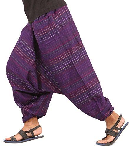 THS Mens Baggy Yoga Hippie Boho Aladdin Alibaba Harem Pants One Size Handmade (Purple – Style I)