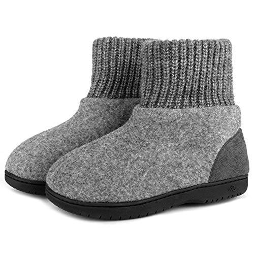 Zigzagger Womens Girls Wool-Like Blend Bootie Slippers Polar Fleece Lining with Adjustable Knit Collar House Shoes Grey 7 M US